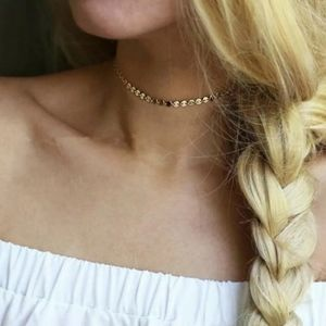 New Gold Sequined Choker Necklace